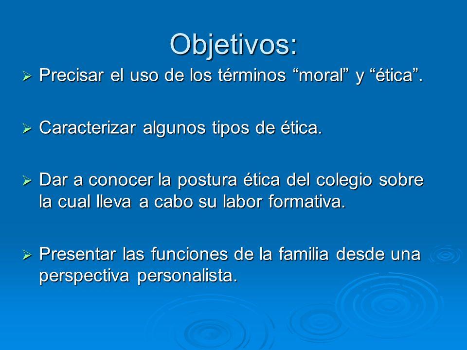Objetivos: Precisar el uso de los términos moral y ética. Precisar el uso de los términos moral y ética. Caracterizar algunos tipos de ética. Caracter