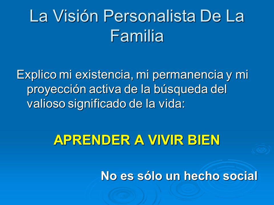 La Visión Personalista De La Familia Explico mi existencia, mi permanencia y mi proyección activa de la búsqueda del valioso significado de la vida: A