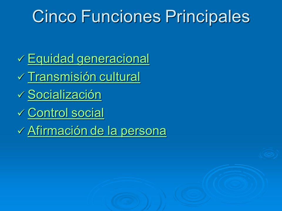 Cinco Funciones Principales Equidad generacional Equidad generacional Equidad generacional Equidad generacional Transmisión cultural Transmisión cultu