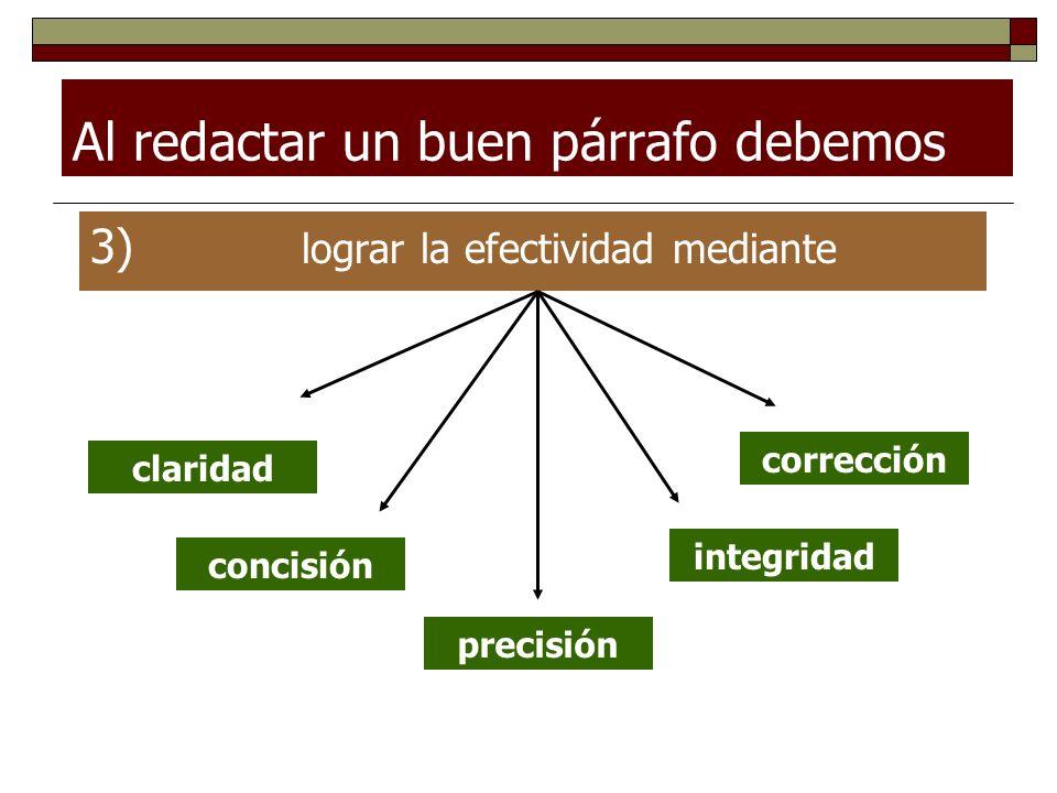 Al redactar un buen párrafo debemos 3) lograr la efectividad mediante claridad concisión precisión corrección integridad