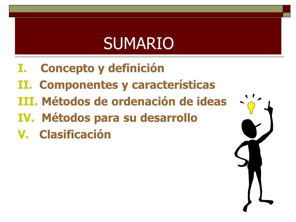 SUMARIO I. Concepto y definición II. Componentes y características III. Métodos de ordenación de ideas IV. Métodos para su desarrollo V. Clasificación