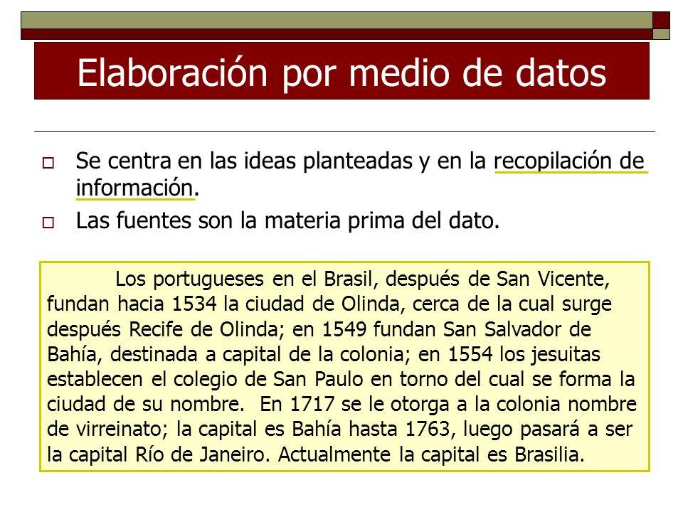 Elaboración por medio de datos Se centra en las ideas planteadas y en la recopilación de información. Las fuentes son la materia prima del dato. Los p
