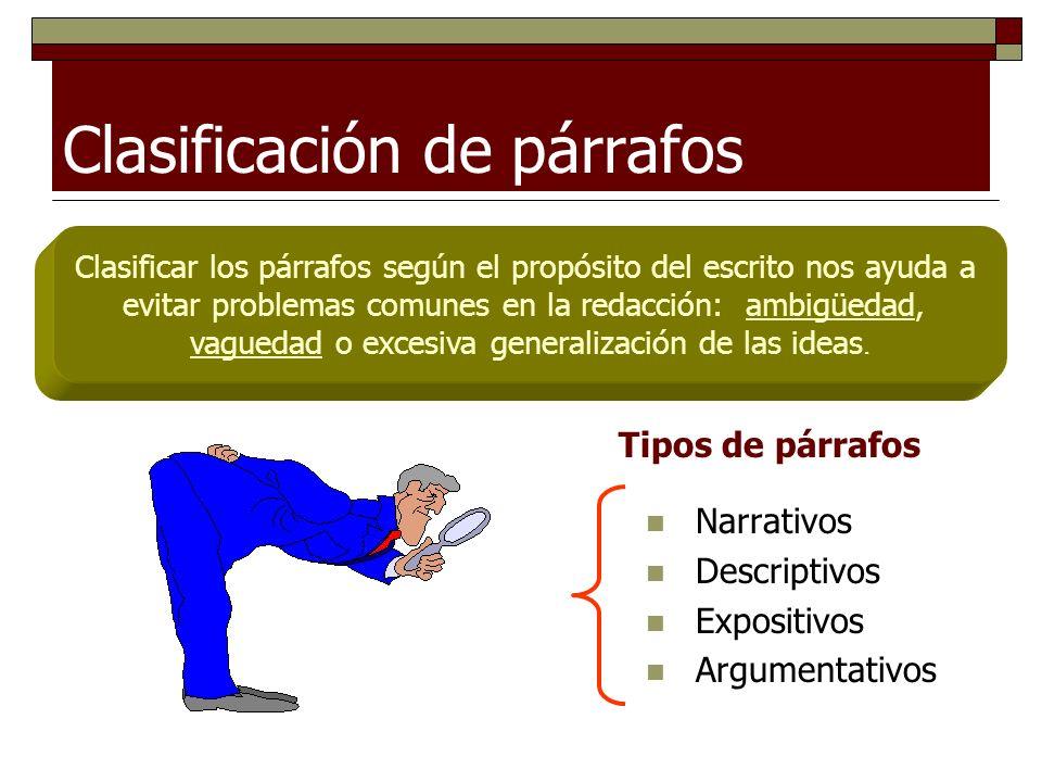 Clasificación de párrafos Narrativos Descriptivos Expositivos Argumentativos Clasificar los párrafos según el propósito del escrito nos ayuda a evitar