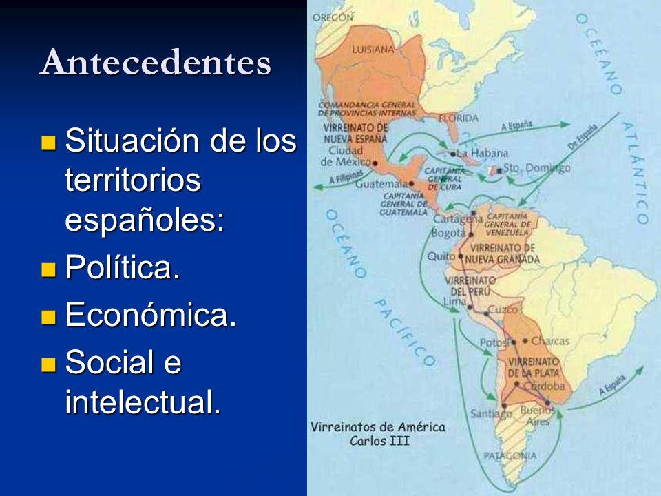 Antecedentes Situación de los territorios españoles: Situación de los territorios españoles: Política. Política. Económica. Económica. Social e intele