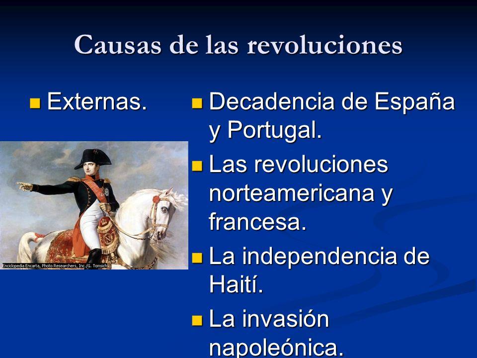 Causas de las revoluciones Externas. Externas. Decadencia de España y Portugal. Las revoluciones norteamericana y francesa. La independencia de Haití.