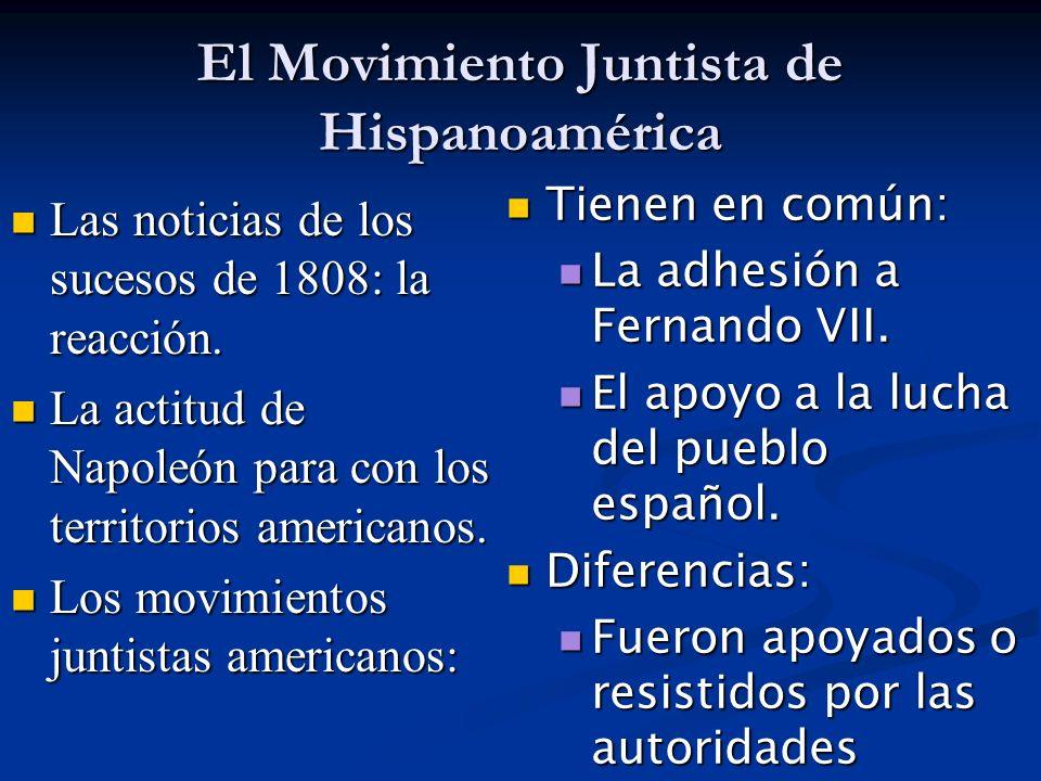 El Movimiento Juntista de Hispanoamérica Las noticias de los sucesos de 1808: la reacción. Las noticias de los sucesos de 1808: la reacción. La actitu