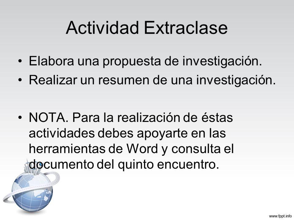 Actividad Extraclase Elabora una propuesta de investigación. Realizar un resumen de una investigación. NOTA. Para la realización de éstas actividades