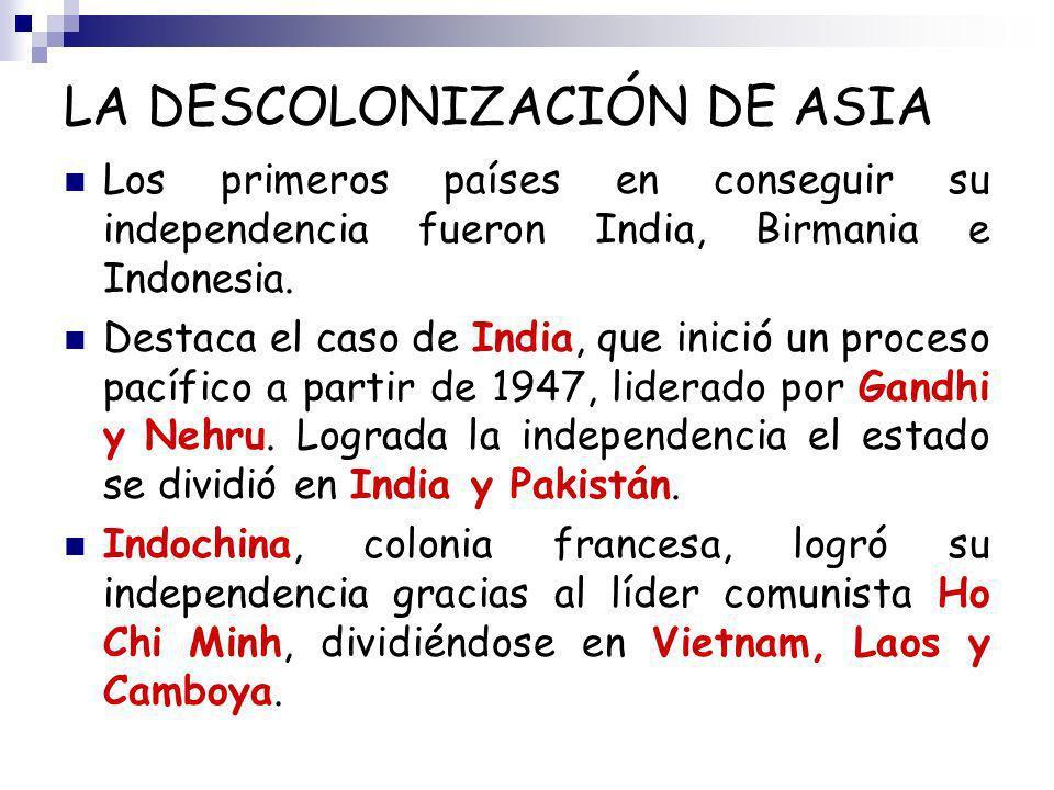 LA DESCOLONIZACIÓN DE ASIA Los primeros países en conseguir su independencia fueron India, Birmania e Indonesia. Destaca el caso de India, que inició