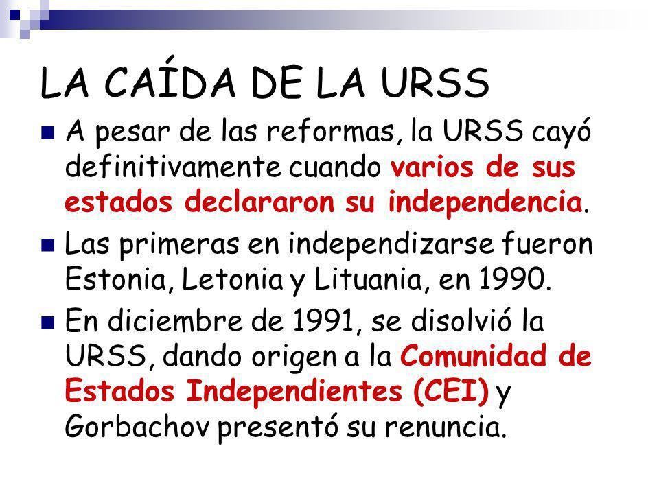 LA CAÍDA DE LA URSS A pesar de las reformas, la URSS cayó definitivamente cuando varios de sus estados declararon su independencia. Las primeras en in