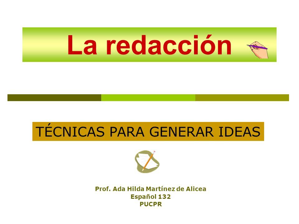 La redacción Prof. Ada Hilda Martínez de Alicea Español 132 PUCPR TÉCNICAS PARA GENERAR IDEAS