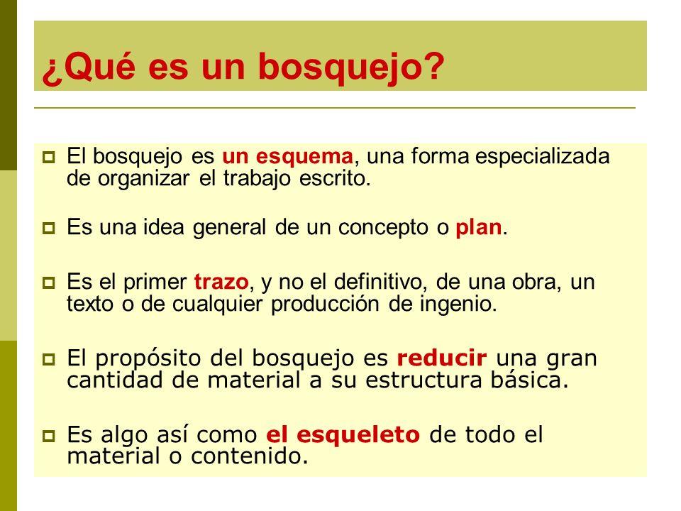 ¿Qué es un bosquejo? El bosquejo es un esquema, una forma especializada de organizar el trabajo escrito. Es una idea general de un concepto o plan. Es