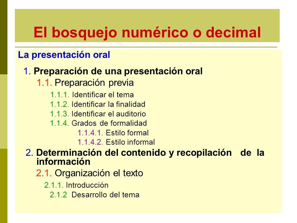 El bosquejo numérico o decimal La presentación oral 1. Preparación de una presentación oral 1.1. Preparación previa 1.1.1. Identificar el tema 1.1.2.