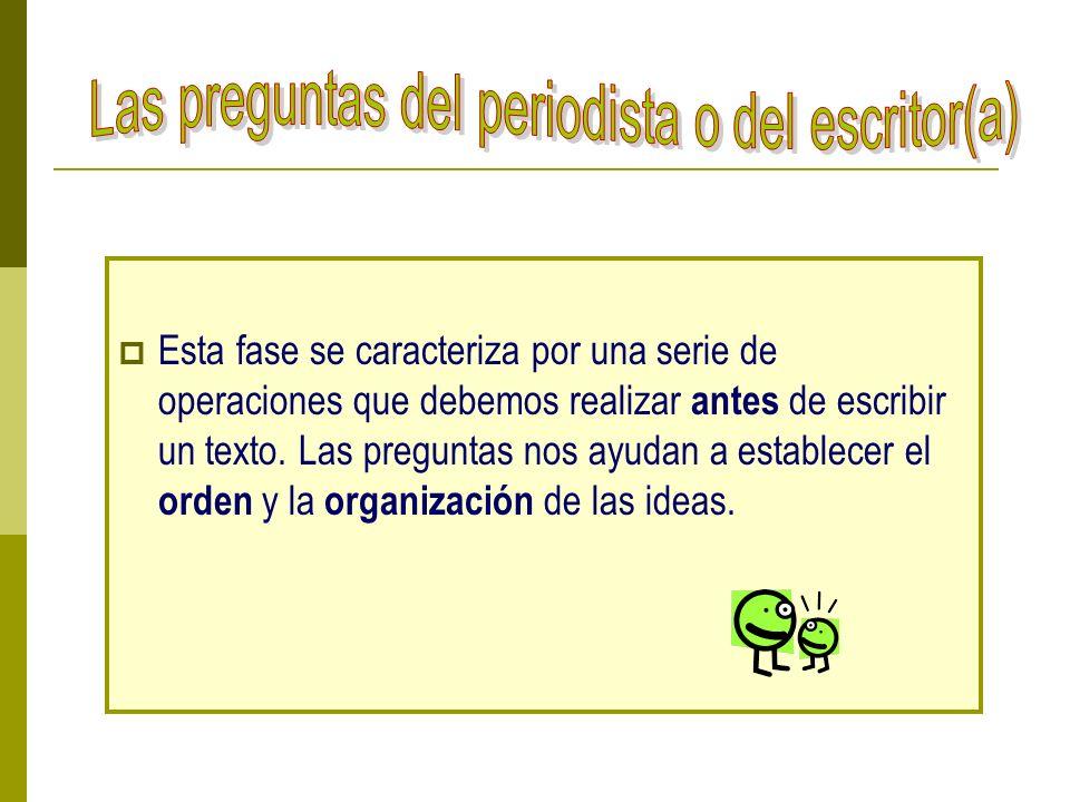 Esta fase se caracteriza por una serie de operaciones que debemos realizar antes de escribir un texto. Las preguntas nos ayudan a establecer el orden