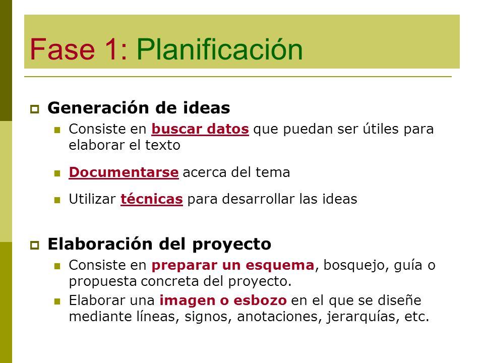 Fase 1: Planificación Generación de ideas Consiste en buscar datos que puedan ser útiles para elaborar el texto Documentarse acerca del tema Utilizar
