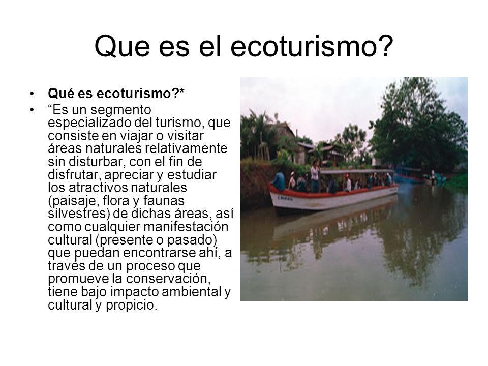 Que es el ecoturismo? Qué es ecoturismo?* Es un segmento especializado del turismo, que consiste en viajar o visitar áreas naturales relativamente sin