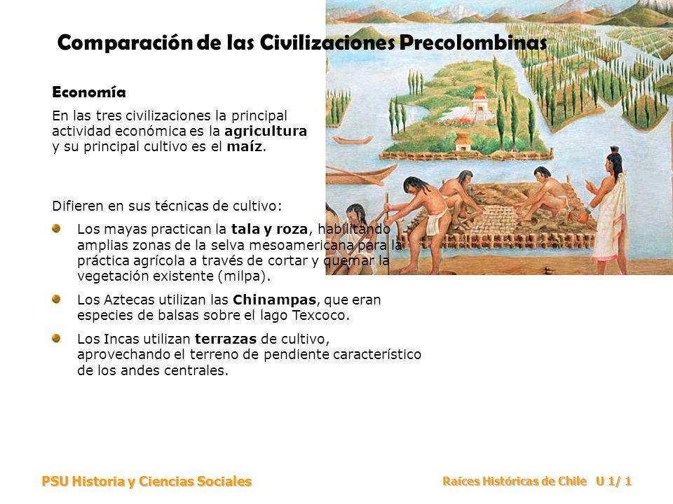 PSU Historia y Ciencias Sociales Raíces Históricas de Chile U 1/ 2 Comparación de las Civilizaciones Precolombinas Sociedad Las tres civilizaciones están altamente jerarquizadas, con una pirámide social que tiene en su base a los sectores campesinos y esclavos.