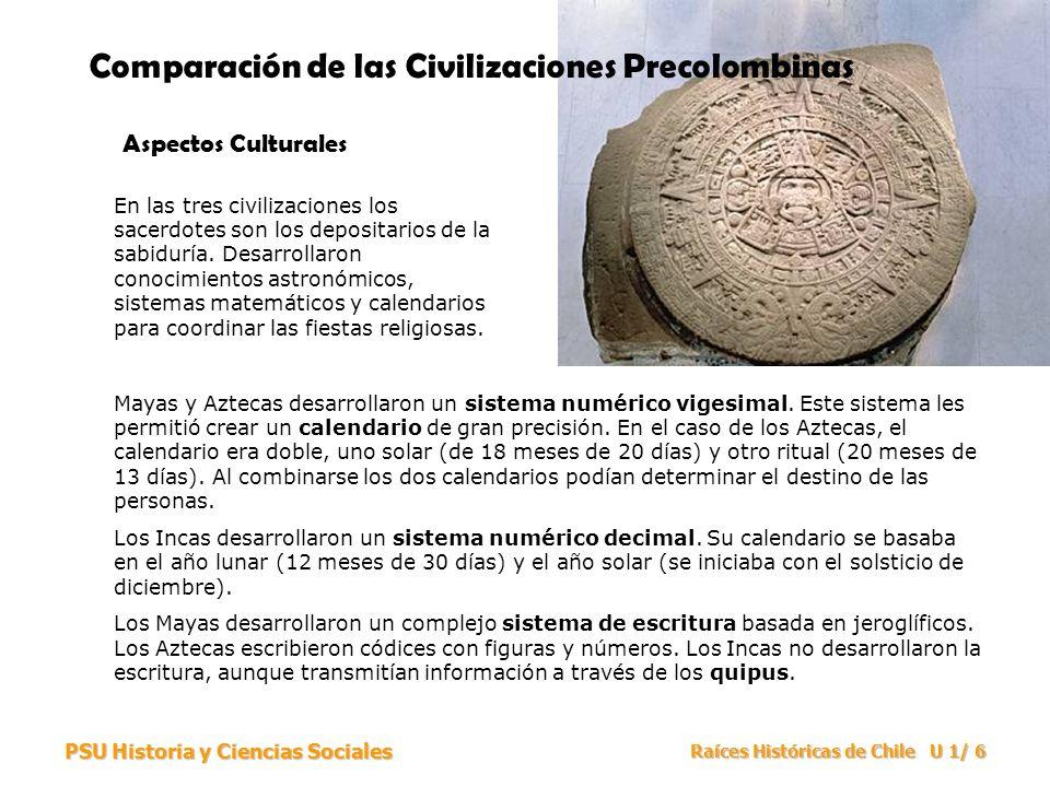 PSU Historia y Ciencias Sociales Raíces Históricas de Chile U 1/ 6 Comparación de las Civilizaciones Precolombinas Aspectos Culturales En las tres civ