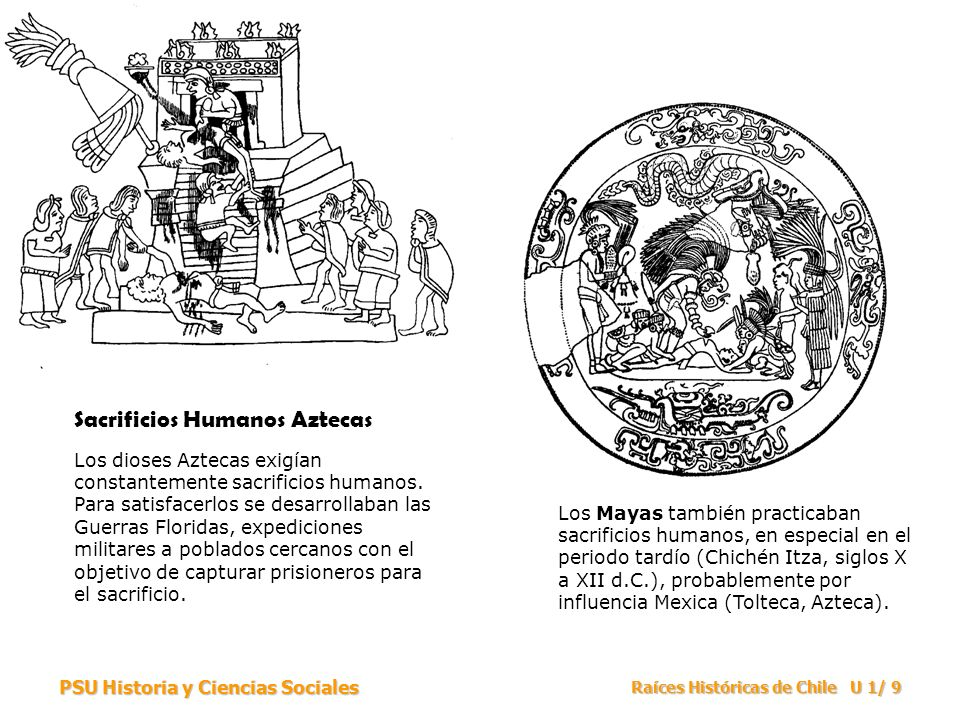 PSU Historia y Ciencias Sociales Raíces Históricas de Chile U 1/ 9 Sacrificios Humanos Aztecas Los dioses Aztecas exigían constantemente sacrificios h