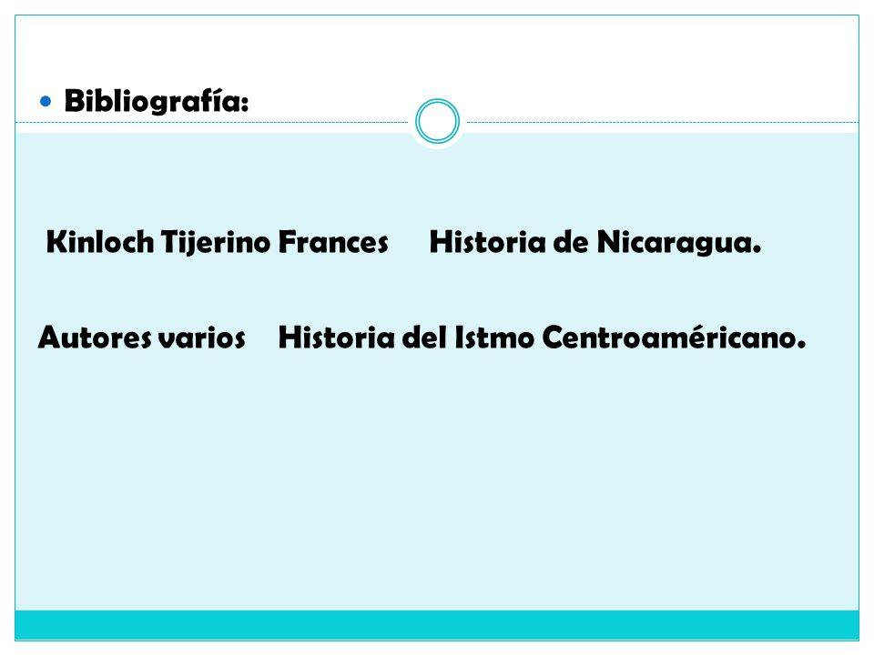 Bibliografía: Kinloch Tijerino Frances Historia de Nicaragua. Autores varios Historia del Istmo Centroaméricano.