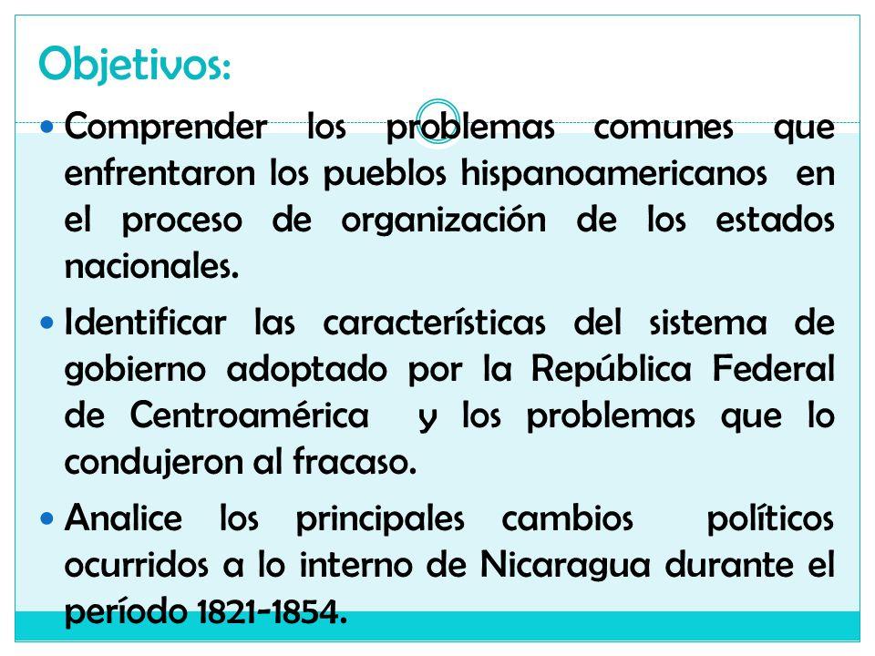 Objetivos: Comprender los problemas comunes que enfrentaron los pueblos hispanoamericanos en el proceso de organización de los estados nacionales. Ide