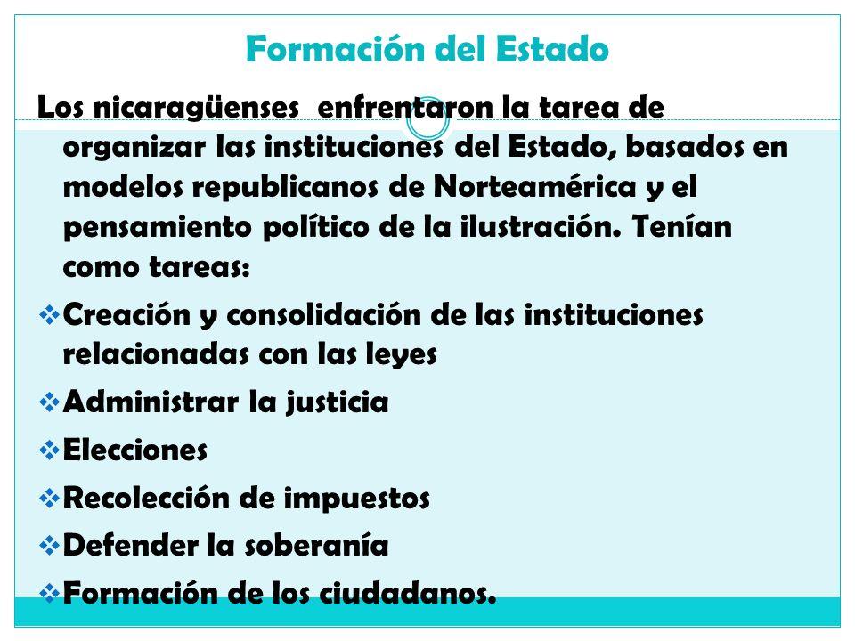 Formación del Estado Los nicaragüenses enfrentaron la tarea de organizar las instituciones del Estado, basados en modelos republicanos de Norteamérica