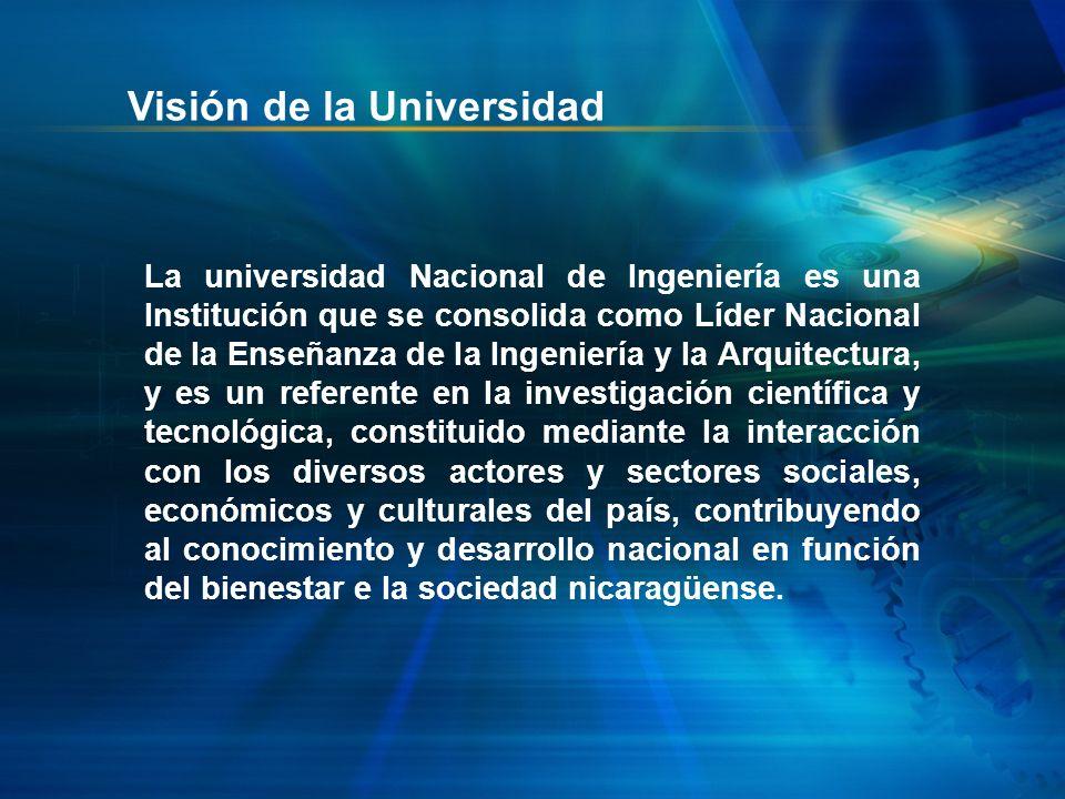Visión de la Universidad La universidad Nacional de Ingeniería es una Institución que se consolida como Líder Nacional de la Enseñanza de la Ingenierí