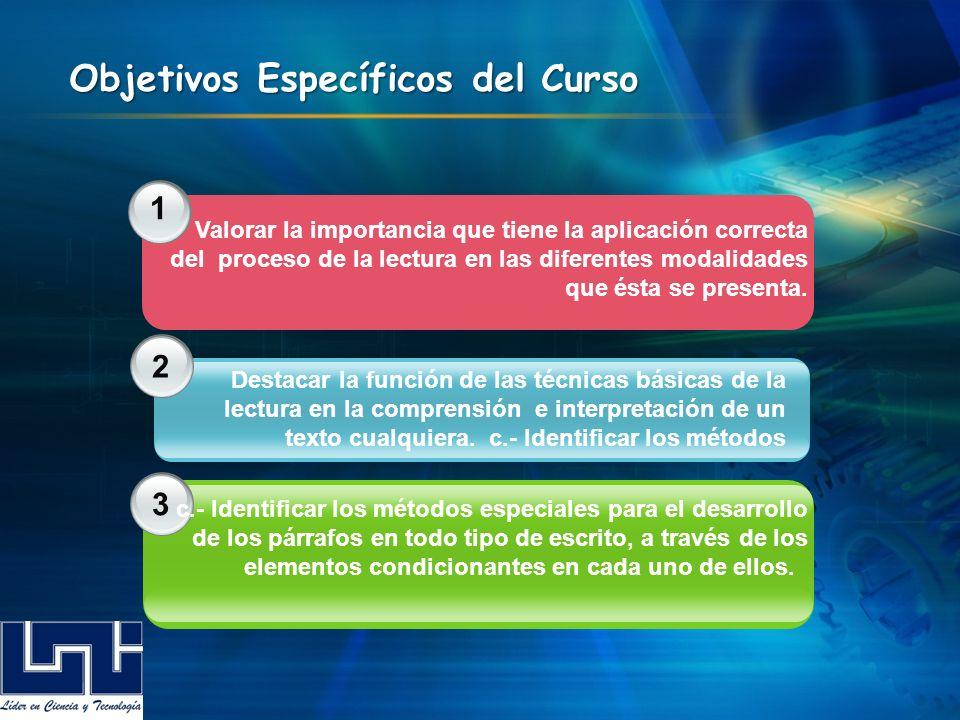 1 2 3 Objetivos Específicos del Curso Valorar la importancia que tiene la aplicación correcta del proceso de la lectura en las diferentes modalidades