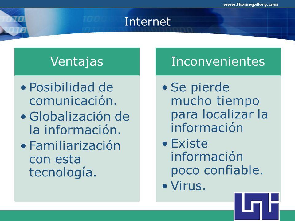 COMPANY LOGO www.themegallery.com Internet Ventajas Posibilidad de comunicación. Globalización de la información. Familiarización con esta tecnología.