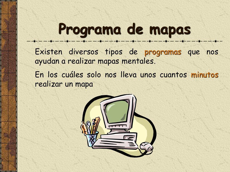 Programa de mapas programas Existen diversos tipos de programas que nos ayudan a realizar mapas mentales. minutos En los cuáles solo nos lleva unos cu