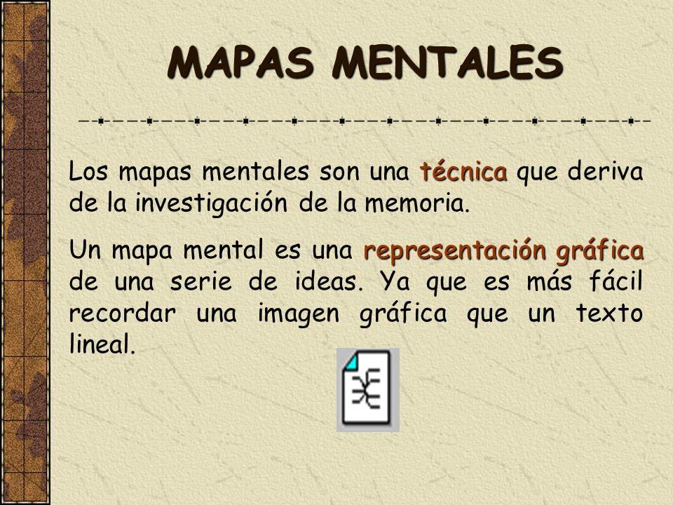 MAPAS MENTALES técnica Los mapas mentales son una técnica que deriva de la investigación de la memoria. representación gráfica Un mapa mental es una r