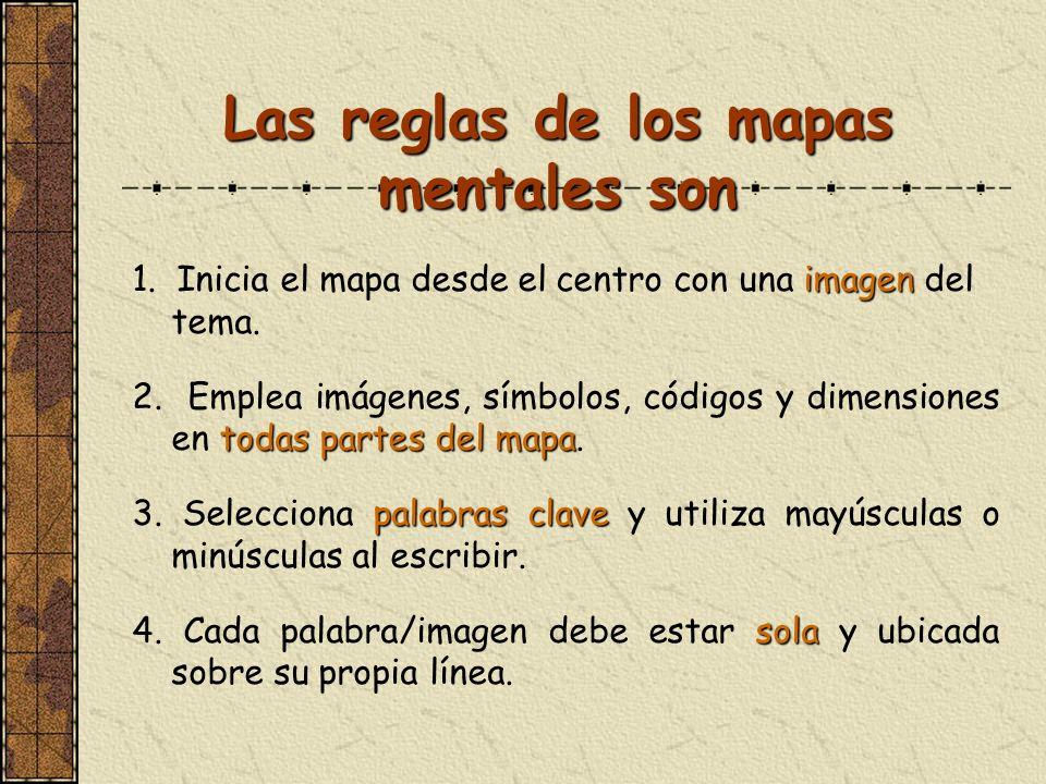 Las reglas de los mapas mentales son imagen 1. Inicia el mapa desde el centro con una imagen del tema. todas partes del mapa 2. Emplea imágenes, símbo