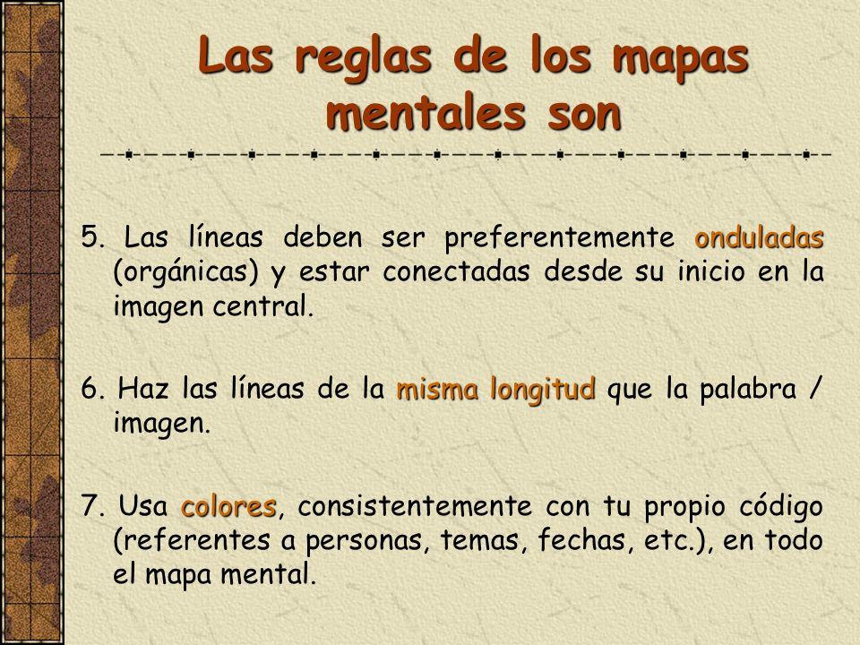 Las reglas de los mapas mentales son onduladas 5. Las líneas deben ser preferentemente onduladas (orgánicas) y estar conectadas desde su inicio en la