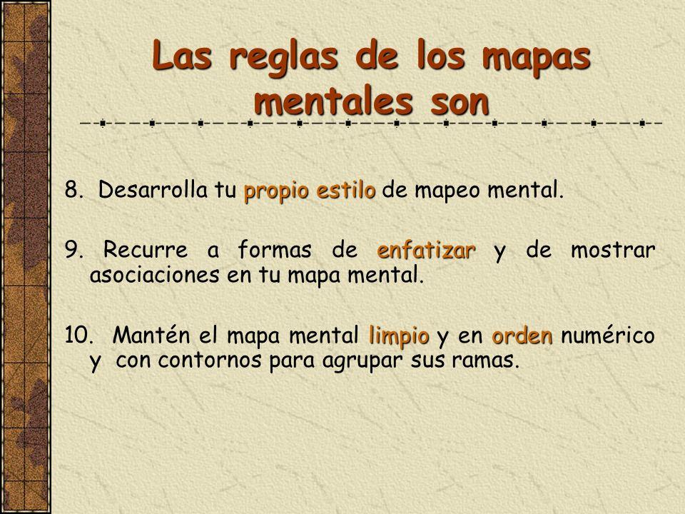 Las reglas de los mapas mentales son propio estilo 8. Desarrolla tu propio estilo de mapeo mental. enfatizar 9. Recurre a formas de enfatizar y de mos