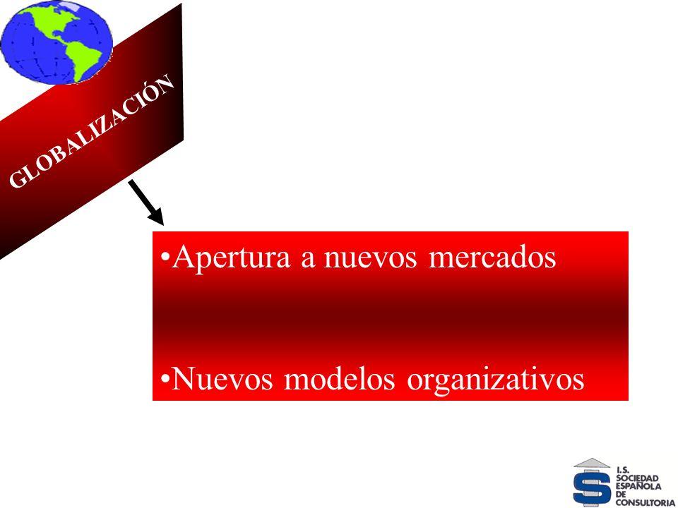 VELOCIDAD DEL CAMBIO GLOBALIZACIÓN Apertura a nuevos mercados Nuevos modelos organizativos