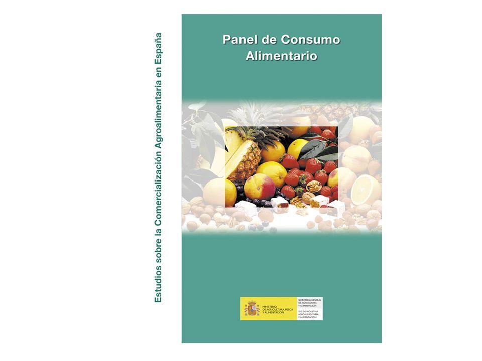 Ministerio de Agricultura, Pesca y Alimentación La Alimentación en España 2005 Productos Cantidad (Millones De Kgs / L / Uds) EvolucionValor (Millones de )Evolucion Kg / L / Uds per Capita 20042005%05/0420042005%05/042005 HUEVOS6.534,73 6.415,65 -1,8716,66 682,78 -4,7149,29 TOTAL CARNE2.228,53 2.233,29 0,212.898,33 13.265,65 2,851,97 TOTAL PESCA1.199,14 1.218,68 1,67.547,64 7.921,65 5,028,36 TOTAL LECHE LIQUIDA3.793,88 3.750,28 -1,12.359,40 2.404,63 1,987,27 TOTAL OTRAS LECHES29,00 29,04 0,1178,94 191,16 6,80,68 TOTAL DERIVADOS LACTEOS1.344,30 1.395,86 3,84.142,73 4.319,64 4,332,48 PAN1.970,15 1.970,36 0,03.902,30 3.960,11 1,545,85 BOLL.PAST.GALLET.CERE507,88 520,94 2,61.981,36 2.034,93 2,712,12 CHOCOLATES/CACAOS/SUC130,90 129,78 -0,9664,43 670,97 1,03,02 CAFES E INFUSIONES72,16 71,84 -0,5514,20 524,77 2,11,67 ARROZ200,17 200,58 0,2223,85 239,94 7,24,67 TOTAL PASTAS157,78 155,04 -1,7213,83 211,54 -1,13,61 AZUCAR196,10 191,54 -2,3176,78 174,46 -1,34,46 MIEL20,89 17,83 -14,6107,86 86,75 -19,60,41 LEGUMBRES153,65 149,61 -2,6198,41 197,17 -0,63,48 TOTAL ACEITE634,32 625,80 -1,31.358,36 1.485,49 9,414,56 ACEITE DE OLIVA442,93 430,10 -2,91.182,70 1.302,31 10,110,01 ACEITE DE GIRASOL161,98 165,63 2,3137,77 140,40 1,93,85 MARGARINA31,79 31,29 -1,683,25 83,36 0,10,73 PATATAS FRESCAS1.034,51 1.051,95 1,7640,67 557,19 -13,024,48 PATATAS CONGELADAS33,18 32,49 -2,138,25 36,32 -5,10,76 PATATAS PROCESADAS52,47 51,05 -2,7187,06 188,11 0,61,19 T.HORTALIZAS FRESCAS2.372,99 2.413,20 1,73.251,81 3.582,05 10,256,16 T.FRUTAS FRESCAS3.917,59 4.004,06 2,24.709,27 4.954,91 5,293,18 ACEITUNAS117,35 114,50 -2,4265,73 258,93 -2,62,66 FRUTOS SECOS111,14 107,88 -2,9558,68 584,49 4,62,51 T.FRUTA&HORTA.TRANSF566,60 582,20 2,81.012,50 1.042,33 2,913,55 PLATOS PREPARADOS415,61 434,72 4,61.589,04 1.659,61 4,410,12 CALDOS8,37 8,49 1,458,67 60,46 3,10,20 SALSAS74,17 76,10 2,6192,00 202,74 5,61,77 VINO C.P.R.D.103,84 111,36 7,2368,55 395,26 7,22,59 VINO DE MESA327,82 311,23 -5,1327,42 311,54 -4,87,24 ES