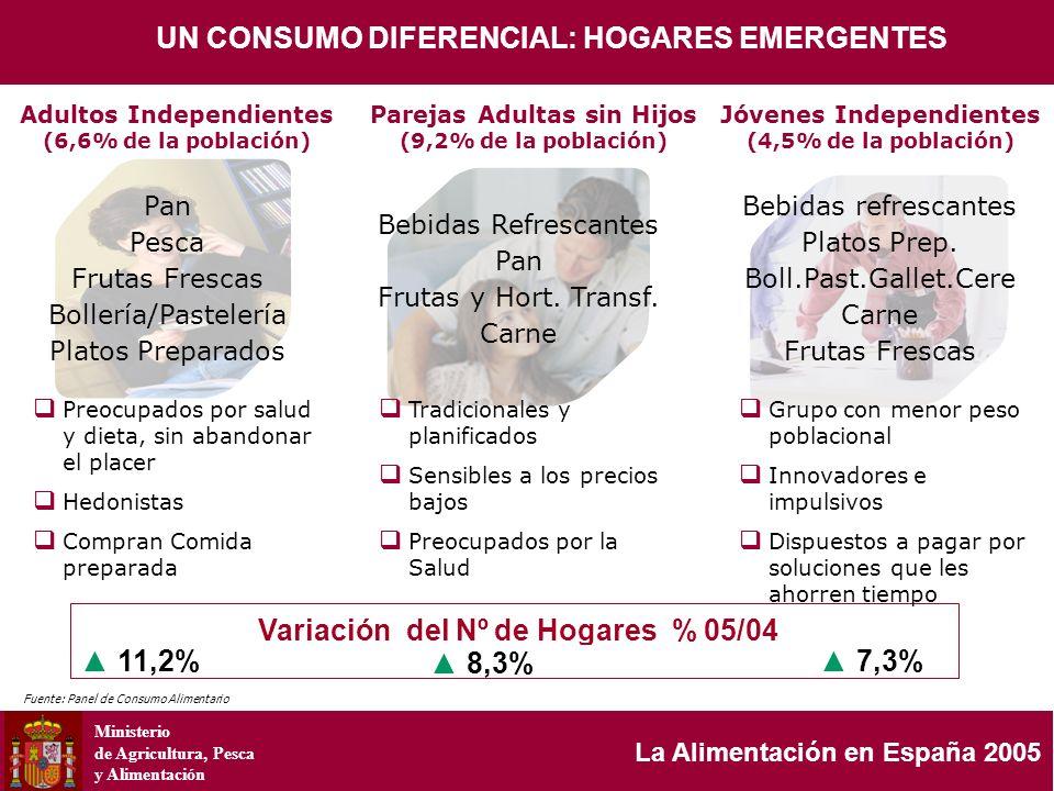Ministerio de Agricultura, Pesca y Alimentación La Alimentación en España 2005 Variación del Nº de Hogares % 05/04 8,3% 11,2% 7,3% Parejas Adultas sin