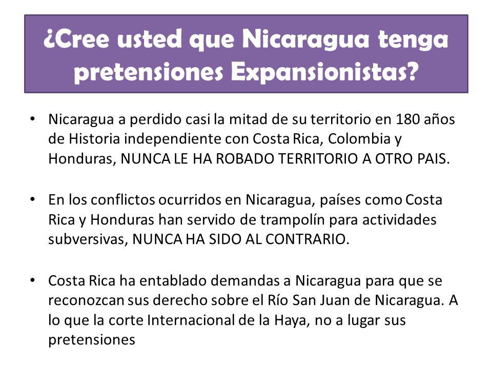 Nicaragua a perdido casi la mitad de su territorio en 180 años de Historia independiente con Costa Rica, Colombia y Honduras, NUNCA LE HA ROBADO TERRI