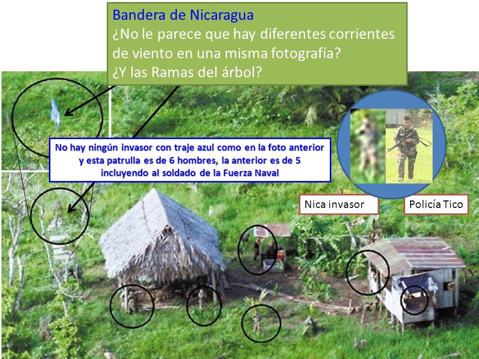 Bandera de Nicaragua ¿No le parece que hay diferentes corrientes de viento en una misma fotografía? ¿Y las Ramas del árbol? Policía TicoNica invasor N