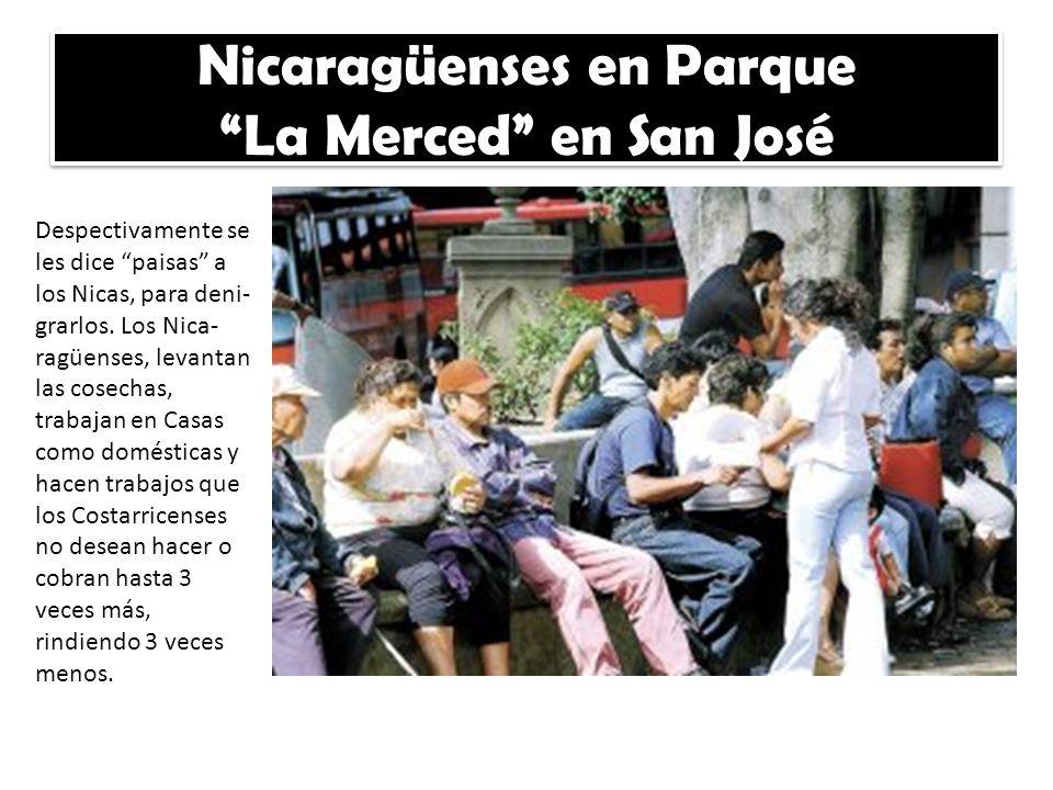 Nicaragüenses en Parque La Merced en San José Despectivamente se les dice paisas a los Nicas, para deni- grarlos. Los Nica- ragüenses, levantan las co