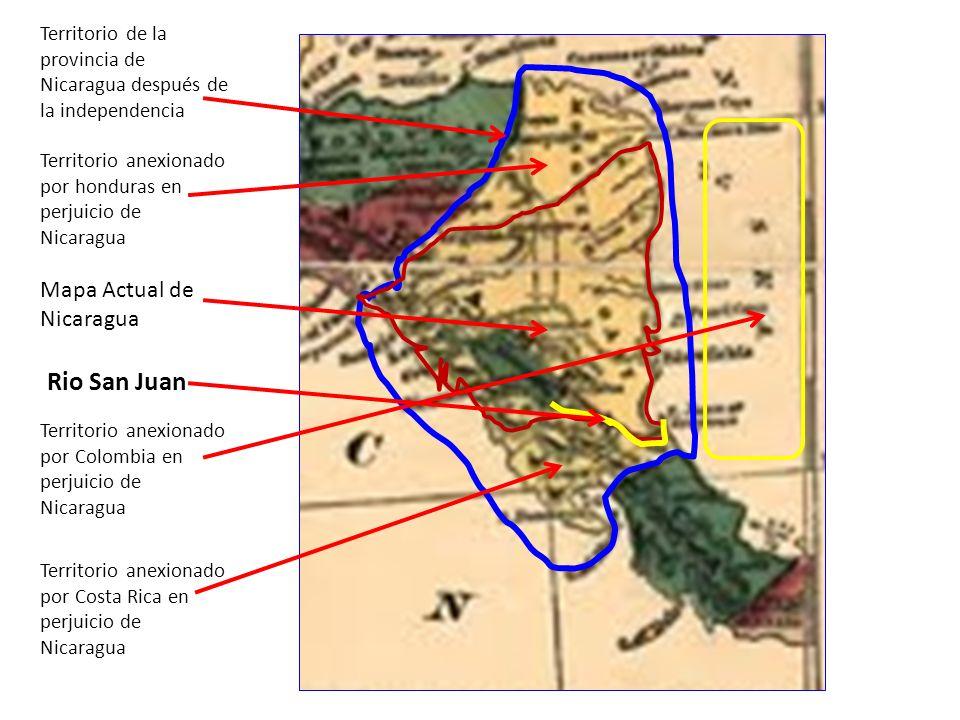 Línea fronteriza de 1865 (Compara con mapa anterior) Rio San Juan de Nicaragua Territorio Robado por Costa Rica http://www.manfut.org/cronologia /guanacaste.html División política en la época de la fiebre del Oro, cuando miles de familias de La costa Este de EEUU utilizaban a Nicaragua como vía de paso para llegar a la Costa oeste de EEUU (año 1865)