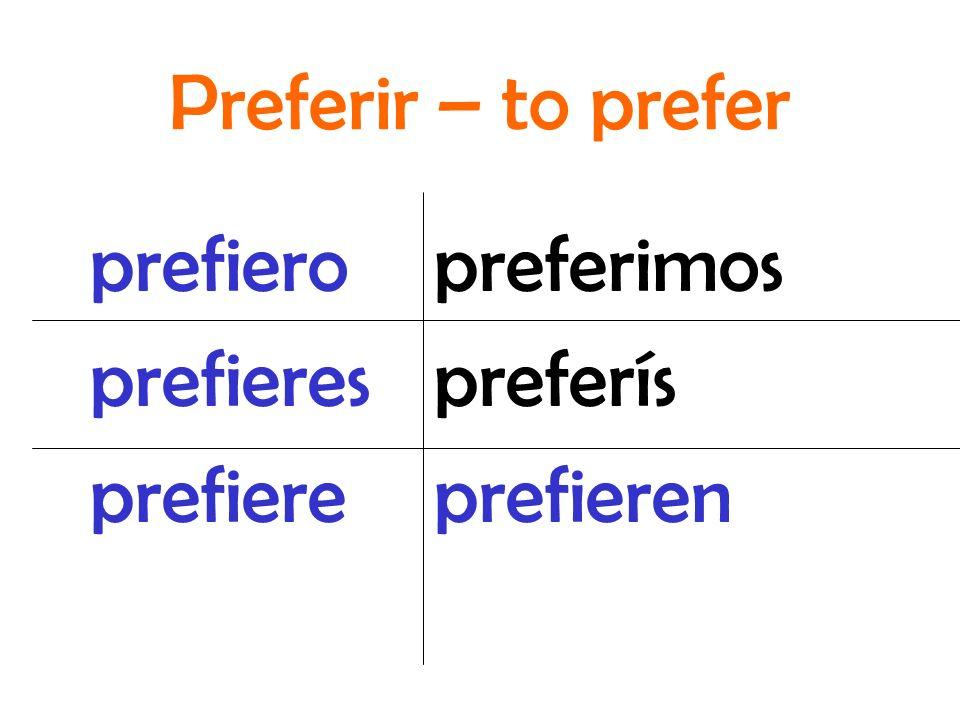 preferimos preferís prefieren prefiero prefieres prefiere Preferir – to prefer
