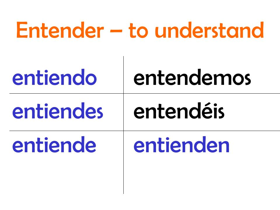 entendemos entendéis entienden entiendo entiendes entiende Entender – to understand