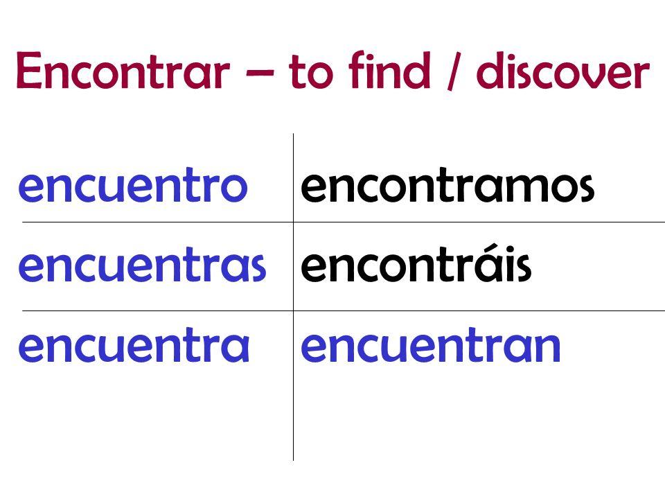 encontramos encontráis encuentran encuentro encuentras encuentra Encontrar – to find / discover