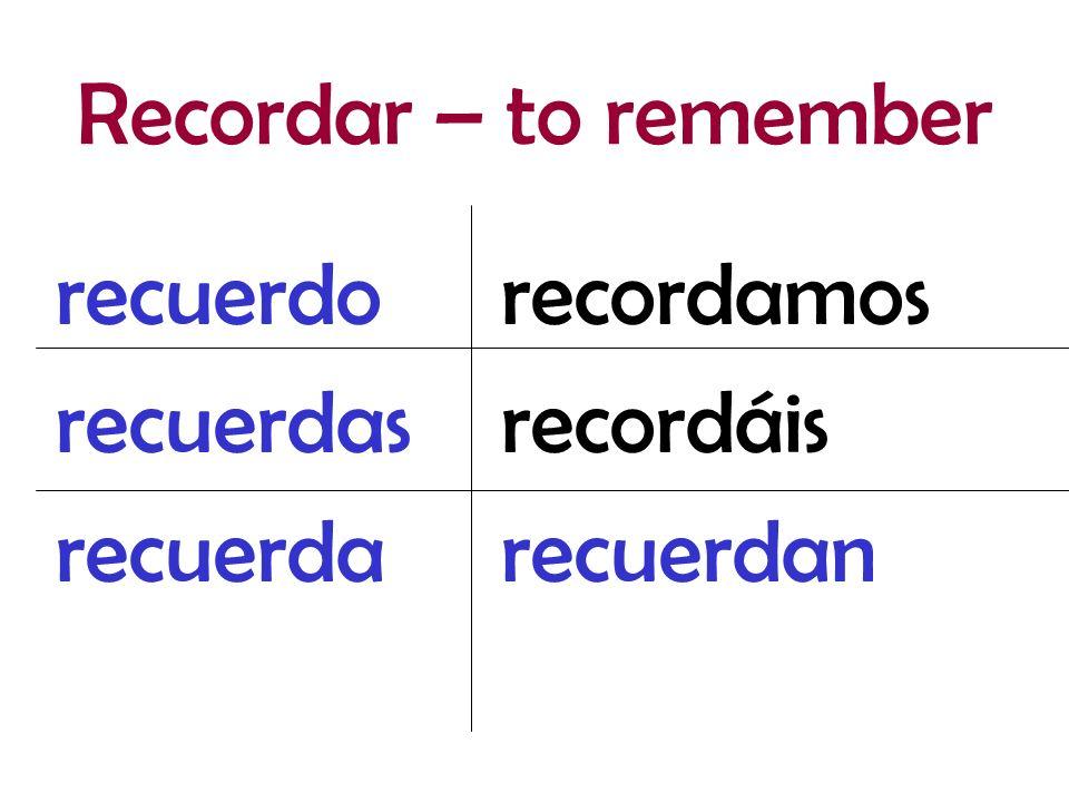 recordamos recordáis recuerdan recuerdo recuerdas recuerda Recordar – to remember