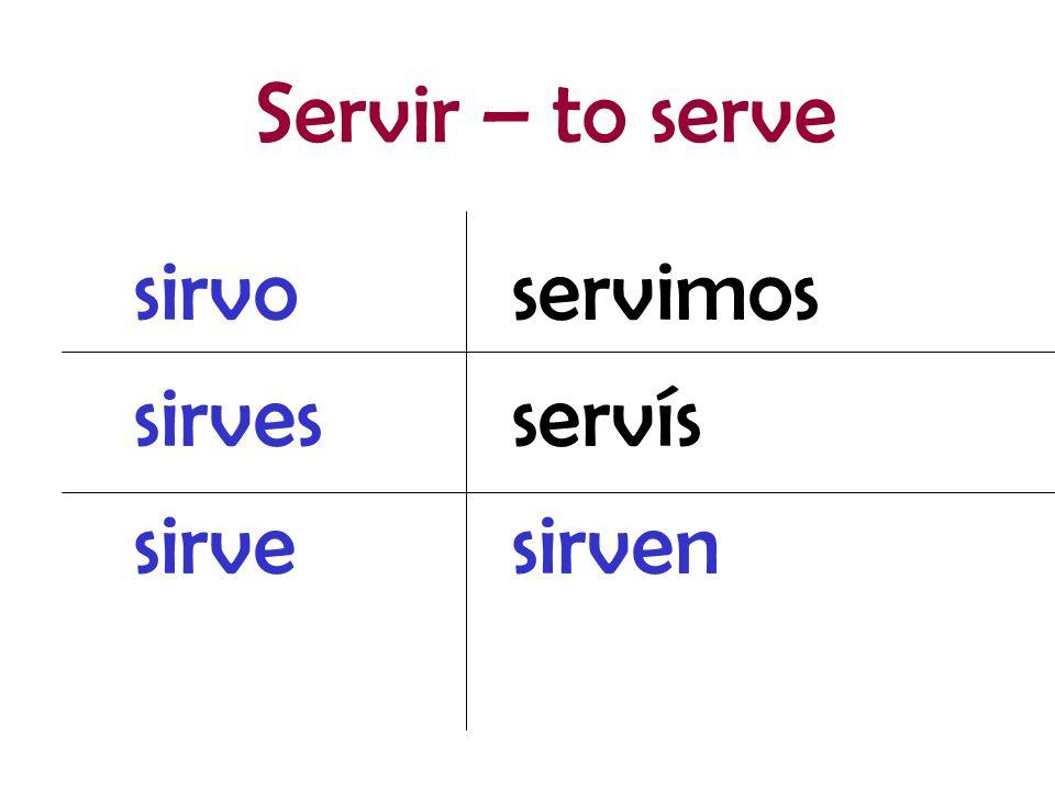 servimos servís sirven sirvo sirves sirve Servir – to serve