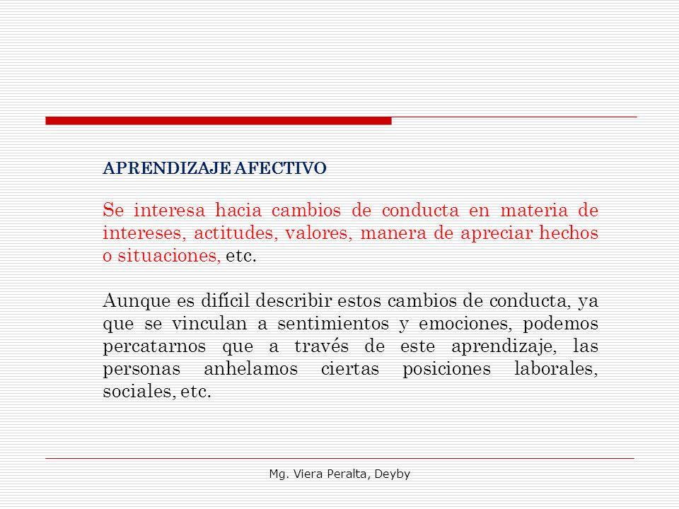 Mg. Viera Peralta, Deyby APRENDIZAJE AFECTIVO Se interesa hacia cambios de conducta en materia de intereses, actitudes, valores, manera de apreciar he