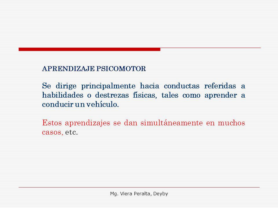 Mg. Viera Peralta, Deyby APRENDIZAJE PSICOMOTOR Se dirige principalmente hacia conductas referidas a habilidades o destrezas físicas, tales como apren