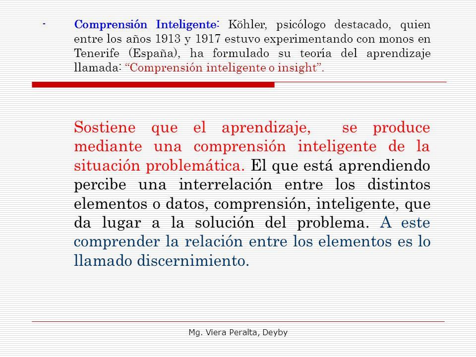 Mg. Viera Peralta, Deyby -Comprensión Inteligente: Köhler, psicólogo destacado, quien entre los años 1913 y 1917 estuvo experimentando con monos en Te