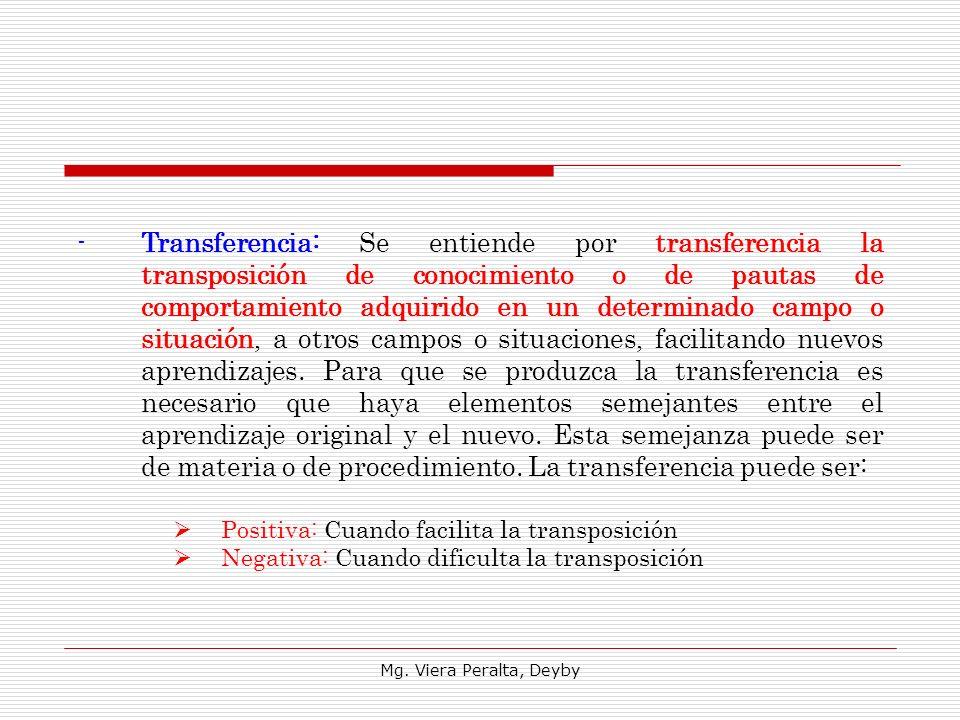 Mg. Viera Peralta, Deyby -Transferencia: Se entiende por transferencia la transposición de conocimiento o de pautas de comportamiento adquirido en un