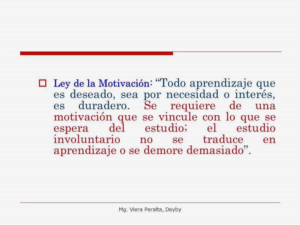 Ley de la Motivación: Todo aprendizaje que es deseado, sea por necesidad o interés, es duradero. Se requiere de una motivación que se vincule con lo q